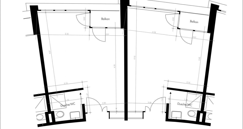 Grundriss Zimmer Haus Mürtschen - West-Trakt